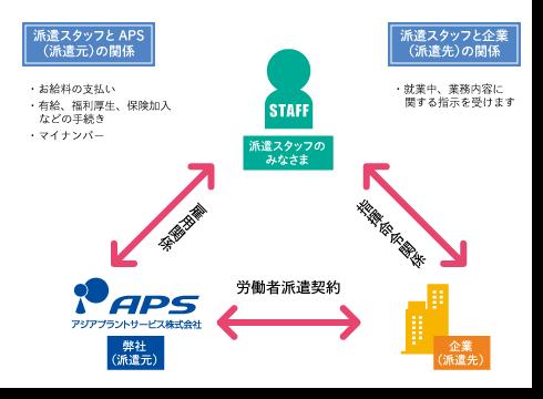 派遣スタッフ・就業先企業・アジアプラントサービスの3者間で成り立つ雇用形態図